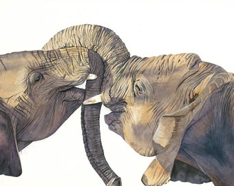 Elephants Watercolor Painting- animal art- Print of watercolor painting - Largest A3 size