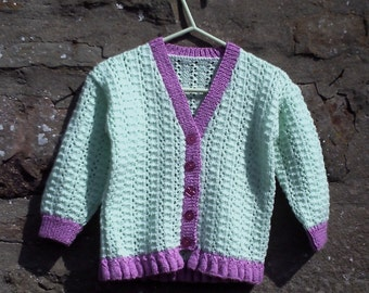 "Toddler hand knitted lacy girls cardigan. 22"" chest."