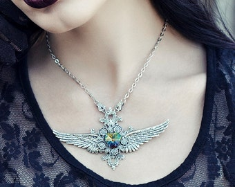 Heart Necklace with Wings - Victorian Neckace - Gothic Victorian Jewelry