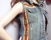 OOAK Handmade Denim Vest -Studded  ----Southwestern Tribal---Size  Small--Med