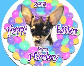 Personalized Easter Chihuahua Ornament Custom Pet Art