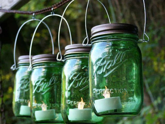 Four Green Ball Mason Jar Lantern Candle Hanging Vase Outdoor Lighting Heritage Collection Mason Jar Decor