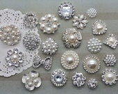 Crystal rhinestone pearl embellishment accent flat back (22 pieces mix) bridal wedding accessories vintage button flower centers bouquet