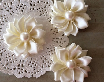 "Small Ivory Fabric Flowers ( 6 pcs) - tiny Satin flowers with pearl centers flower embellishment - Sweetheart 1.5"" accent applique flowers"