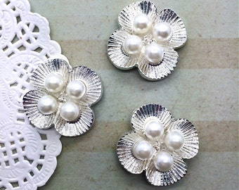 "3 pcs - Silver Pearl embellishment flat back  - 1"" silver flower pearl 25mm bridal wedding accessories vintage button flower center"