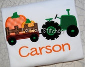 Boys Personalized Fall Pumpkin Tractor Hayride Monogrammed Applique