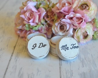 Customized Wedding Ring Boxes-(Set of Two-I Do/Me Too) - With Burlap Pillows. Your choice of Colors. Ships Quickly.