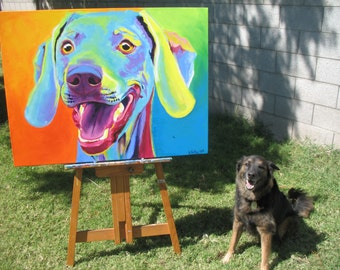 Weimaraner, Pet Portrait, DawgArt, Dog Art, Weimaraner Art, Original Painting, Pet Portrait Art, Colorful Dog Art, Weimaraner Painting