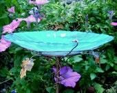 """Glass BIRD BATH, stained glass, copper, Aqua, Blue, 8"""" diameter, Garden Art, Garden Decor, Outdoor"""