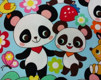 Cute animals, pale blue, fat quarter, pure cotton fabric