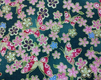 Butterfly and Japanese cherry blossom, green marble, gold metallic, fat quarter, pure cotton fabric