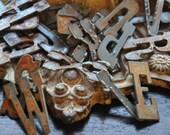 """MINI Vintage Rusty Zinc Letter Alphabet - 1.5"""" Letters - Set of 26"""