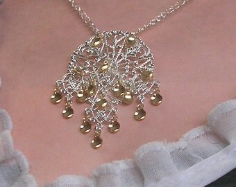 Inge - Traditional Norwegian Snowflake & Hearts Solje Style Necklace with golden drops