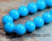 8mm Round Turquoise Blue Jade Beads Opaque Smooth - 16 inch strand