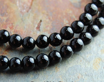black agate 4mm round beads -15.5 inch strand