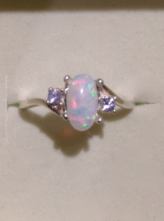 Brazilian Opal Ring Genuine Pink And Purple Opal Silver Ring