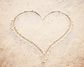 "Love Photography - heart beach sand photo neutral print beige cream light seashore wall art pale shore - 8x8 Photograph, ""Heart in the Sand - CarolynCochrane"