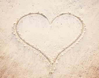 "Love Photography - heart beach sand photo neutral print beige cream light seashore wall art pale shore - 8x8 Photograph, ""Heart in the Sand"""