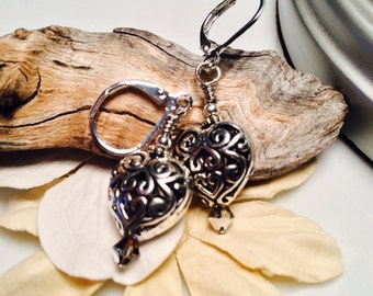 Valentine Heart shaped Silver Dangle Earrings
