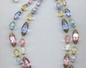Gorgeous sparkling vintage 2-strand vintage Laguna necklace - super-rare vintage Swarovski pastel crystals