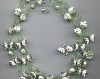 Super-pretty 2-strand vintage Vendome necklace and earring set