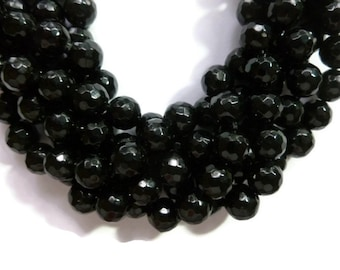 Black Jade - 8mm Faceted Round Bead - Full Strand - 46 beads