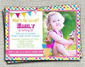 Ice Cream Birthday Invitation, Ice Cream Cone Birthday Invitation, Ice Cream Scoop Birthday Invitation, Ice Cream Scoop-DIY