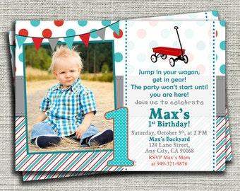 Little Red Wagon Birthday Invitation, Red Wagon Birthday Invitation, Aqua Blue Wagon Birthday Invite-Digital File You Print