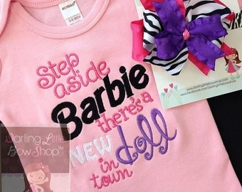 Baby Girl bodysuit and bow with headband --there's a New doll in Town -- pink, purple and zebra