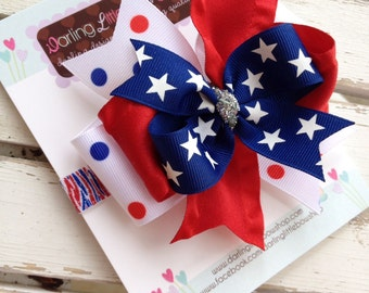 Hairbow for 4th of July -- I Love the USA -- red, white and blue polka dots and stars with optional glitter headband
