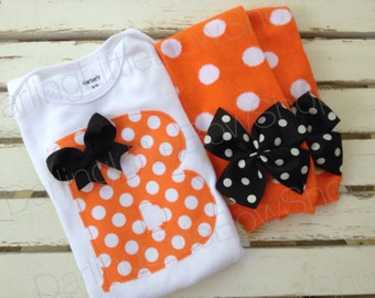 Baby Girl Outfit for Fall and Halloween -- Leg warmers and Initial Bodysuit - fun orange polka dot applique with bow detail