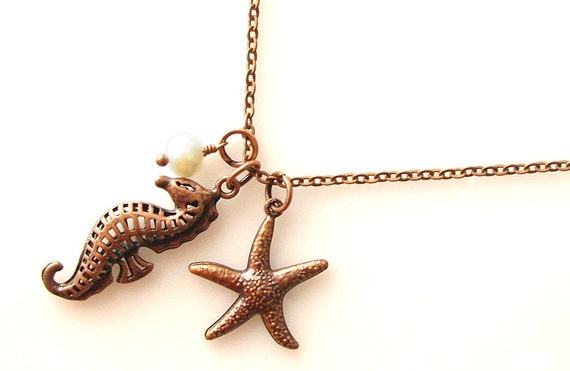 nautical jewelry, sea horse necklace, beach lover gift, personalized necklace, starfish necklace, antique copper necklace, seahorse jewelry