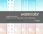 "Modern Digital Paper + watercolor - 060  + Scrapbook Quality Paper Pack  (12 x 12""- 300 dpi)   6 sheet pack paper + Instant Download - geo"