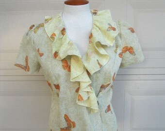 SALE Vintage Wrap Around Blouse . Ruffled BUTTERFLY Summer Blouse