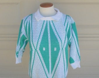 SALE Vintage 80s Hipster Sweater . Collared Green White Geometric Print