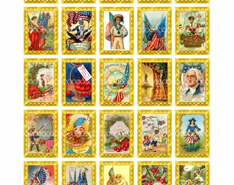 Digital Clipart, instant download vintage fourth of July memorial day flag America American 50 stamps--digital collage sheet (8.5by11) 1481