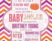 Baby Shower Invitation Chevron Pumpkin