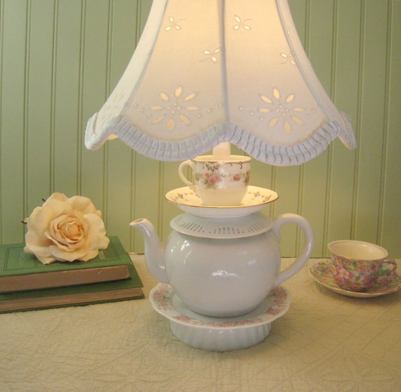 Teapot Lamp Pink Roses White Teapot Tea Cup and by ThistleandJug