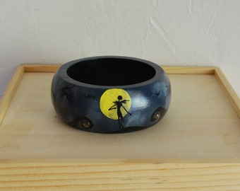 Halloween Jack Skellington Bangle Bracelet/Nightmare Before Christmas Bracelet/Art Bangle/Wood Bangle