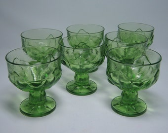 set of 7 TIFFIN CABARET low glass sherbets or champagne / wine glasses , thick heavy glass , footed , leaves