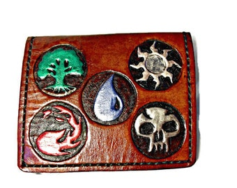 Magic the Gathering - MTG Gift - Card Game - MTG Wallet - Anime - Gamer Gift - Geek Boyfriend - Mana Symbols. Holds 8 cards, 1 bill slot