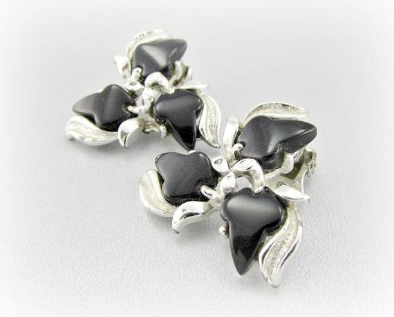 Vintage Thermoset Earrings, Black Lucite Earrings, Silver Leaf Earrings, Clip-on Earrings, 1950s 1960s Costume Jewelry, Gift for Mom Grandma