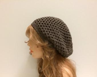 Crochet Slouchy Hat - DARK TAUPE