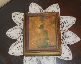 Vintage Wood Box, Relic Mirror, Trinket Case,Rustic Victorian Ring bearer Keepsake