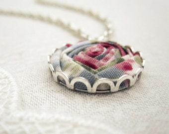 Watercolour Rose Necklace - Duck Egg Blue, Slate Grey & Honeysuckle Pink Fabric Flower Necklace