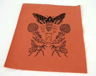 Salmon Pink Moth Tooth Sew On Punk Patch