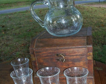 Art Glass Pitcher & Glasses Bubble Work Handblown Eleven Pedestal Cups With Chest Entertaining FIND