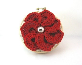 Valentine's Day Ornament, Red Flower Handmade Keepsake, Stocking Stuffer,  Wall Decoration, Small Size for Cubicles, Christmas Ornament