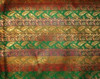 Half yard of Indian silk brocade in stripes and little motifs