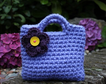 Little Girl Little Purse in bluebell shade with purple flower